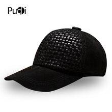 Pudi men genuine leather baseball cap hat 2020 new winter warm real leather sport trucker caps hats black brown color HL001