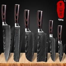 Qing Kitchen Knife Set Laser Damascus Pattern High Carbon Stainless Steel Non-stick Fruit Santoku Utility Cleaver Bread