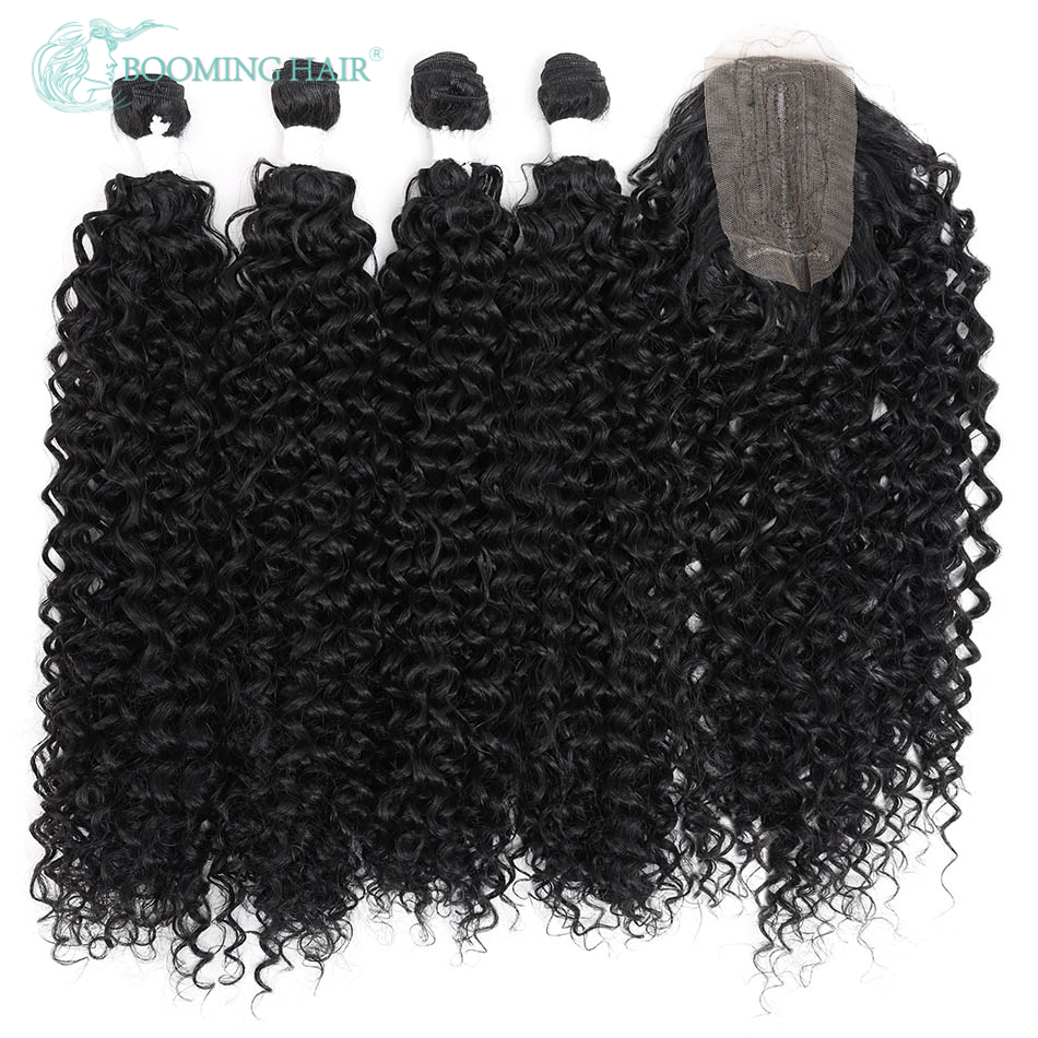 Curly Hair Bundles With Closure Synthetic Super Soft Water Wave Heat Resistant Blonde Brown Hair Extensions 5Pcs/Lot 240g A Wig