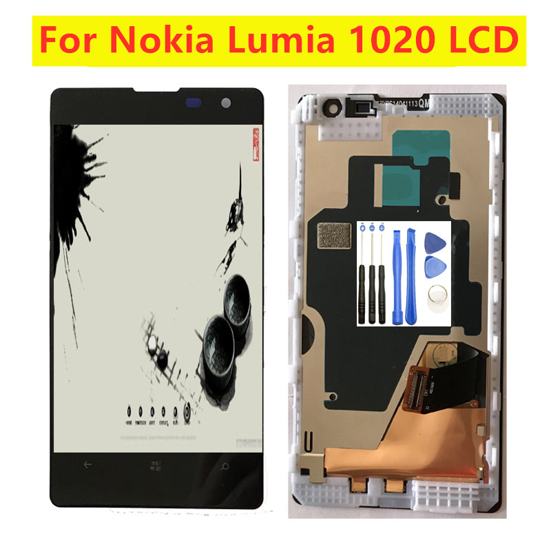 <font><b>4.5</b></font> <font><b>inch</b></font> For Nokia Lumia 1020 for Nokia 1020 <font><b>LCD</b></font> Display Digitizer <font><b>Touch</b></font> Screen Sensor Assembly <font><b>with</b></font> Frame Free Tools image