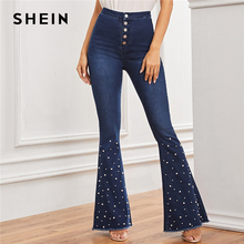 SHEIN Navy Pearls Beaded Pocket Frayed Edge Long Vintage Jeans Women 2019 Autumn Button Fly High Waist Flare Leg Denim Pants
