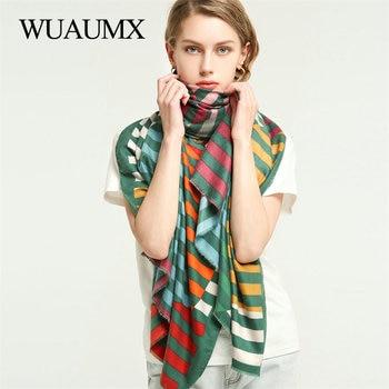 Wuaumx Brand Designer Scarf Women Ladies Scarves Double Sided line Stripe Pattern Shawl Wrap Cotton Western style Scarf Female недорого