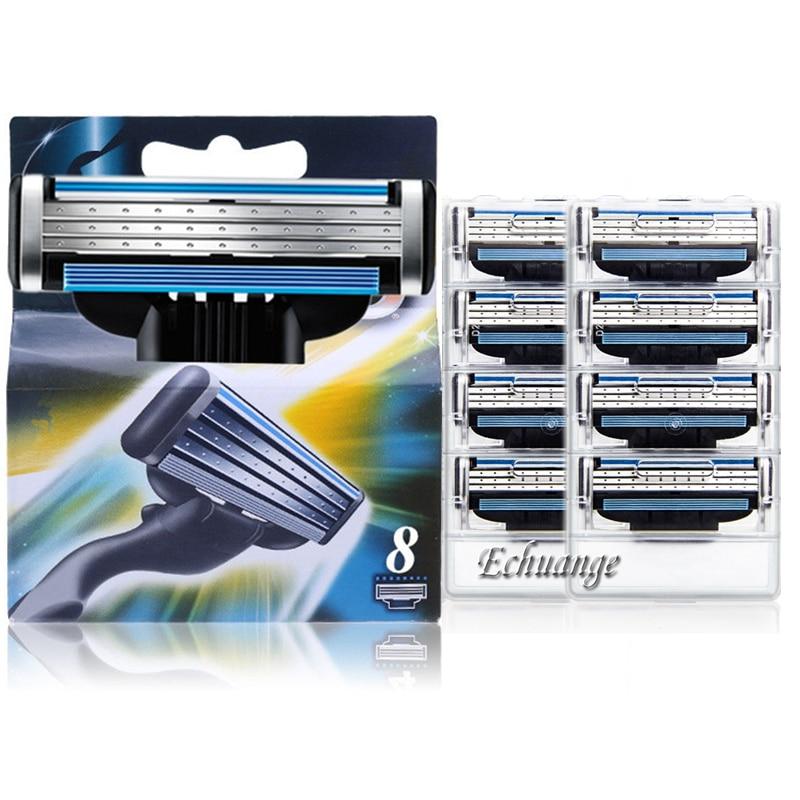 8pcs/lot Razor Blade For Men Shaving Blades Safety Blades Cassette Shaver Suit For Gillette Mach 3 Handle