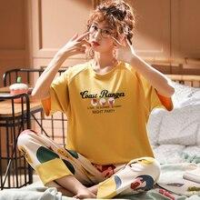 新 2020 女性の綿半袖ナイトウェアプリント部屋着パジャマ女性の睡眠の摩耗ツーピース pj スーツ M 5XL