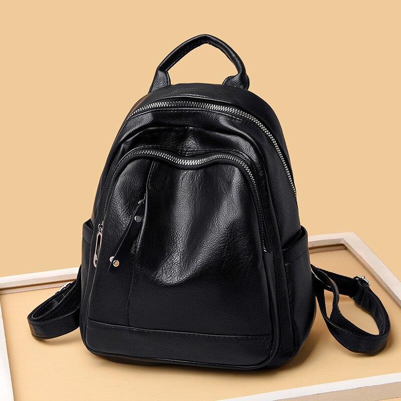 New 2019 Casual Women Backpack High Quality Soft Leather Female Backbag For Teenage Girl School Bag Shoulder Bag Bagpack Mochila
