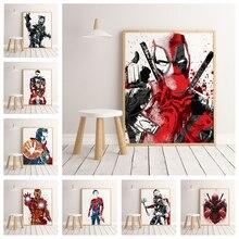 Marvel Super Hero Iron Man SpiderMan Capitán América HD acuarela Poster alta calidad lienzo pintura sin marco o541