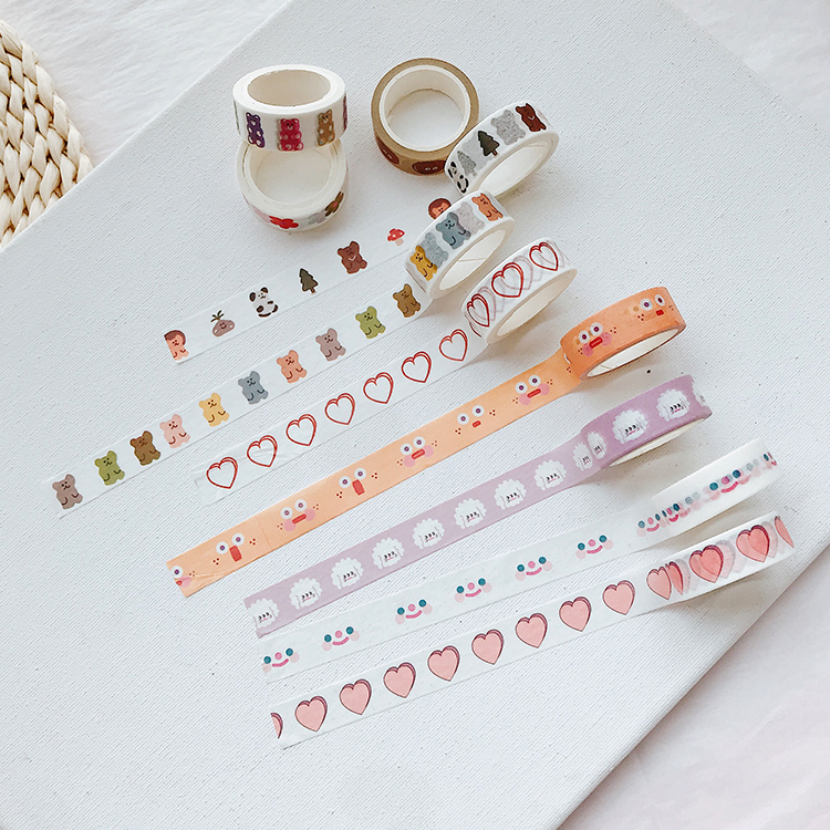 SIXONE Ins Cloud Smile Face And Paper Tape Double Love Floret Korea Washi Tape Hand Account Decorative Tape Stationery