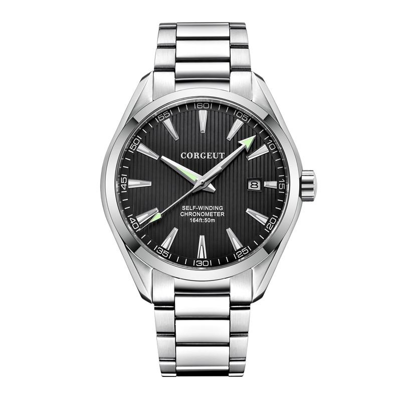 Corgeut 41 ミリメートル男性時計ブラックダイヤル御代田 8215 自動カレンダー機械式サファイアクリスタル男性腕時計高級トップブランド
