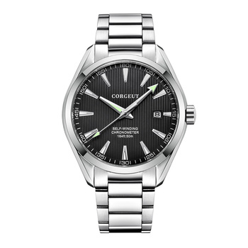 Corgeut 41mm men clock black dial Automatic calendar Mechanical Sapphire crystal men wristwatch luxury top brand
