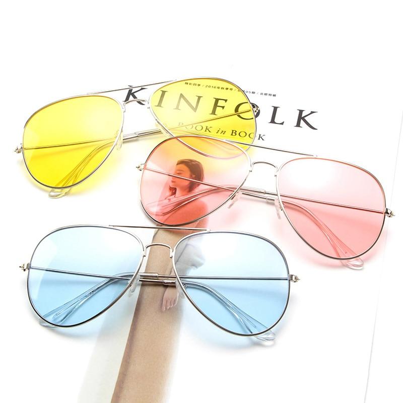 Винтажные Солнцезащитные очки пилота для мужчин, фирменный дизайн, Авиатор, для вождения, солнцезащитные очки для женщин, розовые, желтые