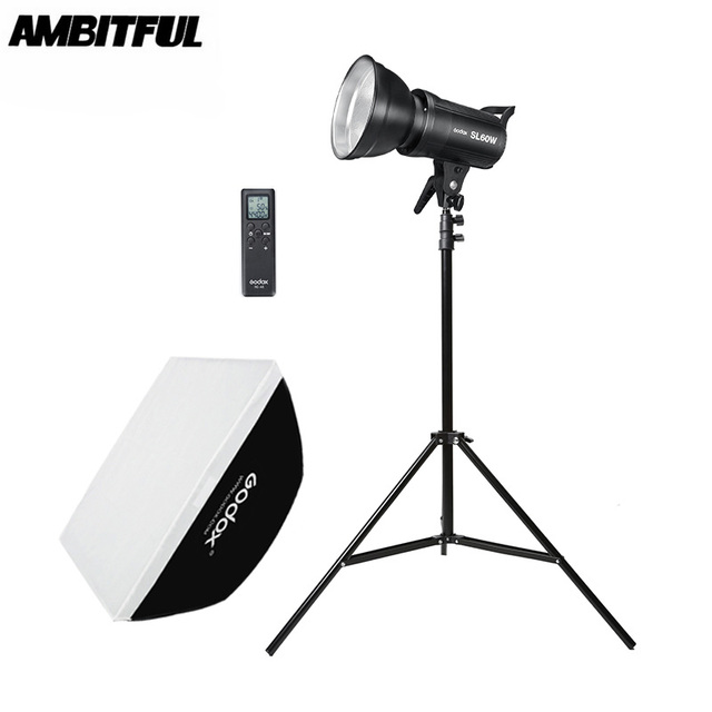 Godox SL 60W 5600K LED Video Light White Version Video Light Continuous Light Kit + 190cm Light Stand + 60x90cm Bowens Softbox