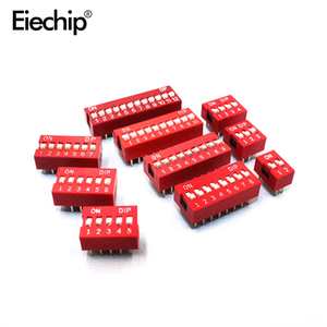 H026 10pcs DIP Switch Slide Type Red 2.54mm Pitch 2 Row DIP Toggle switches 2p 3p 4p 5p 6p 8p 10p Free Shipping(China)