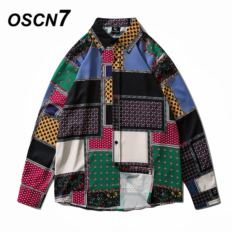 OSCN7 Casual Printed Long Sleeve Shirt Men High High Streetwear 2020 Fall Women Shirt Retro Shirts Harujuku Mens Shirt 2105