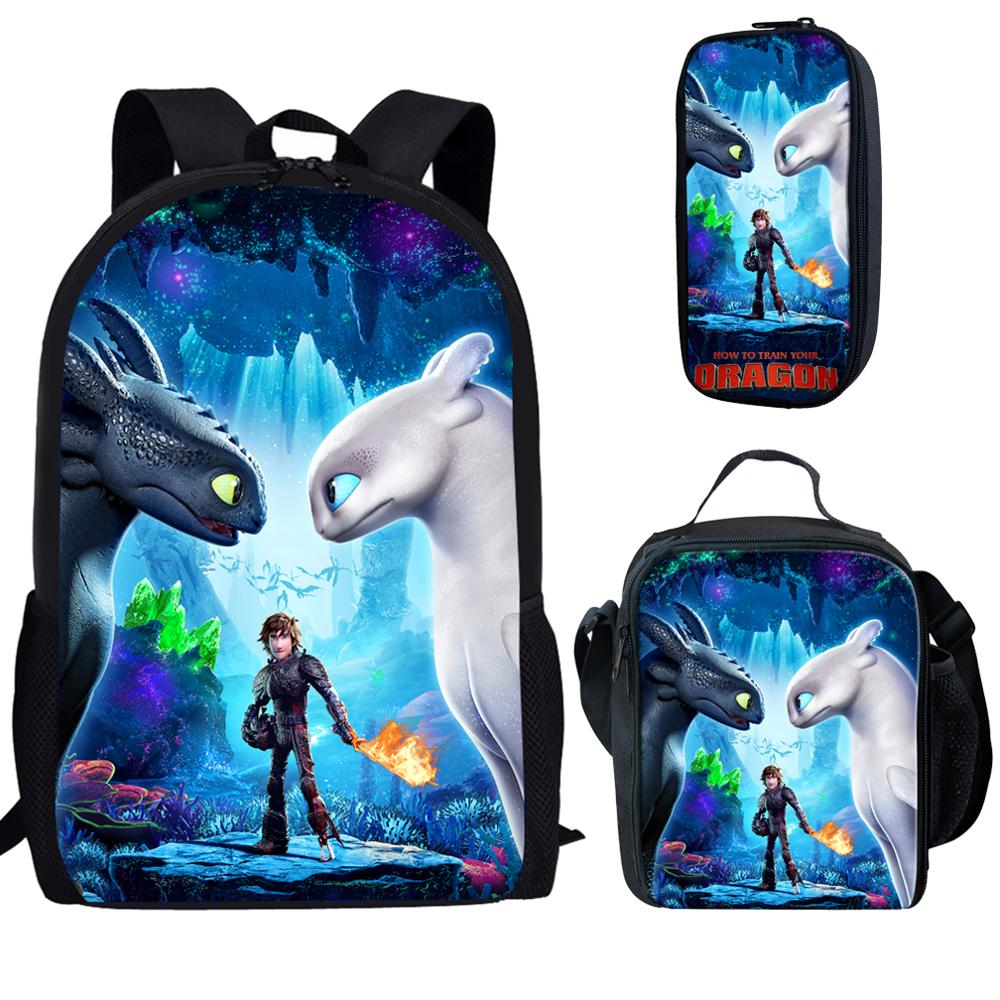 How To Train Your Dragon 3pcs Set School Bag Gifts For Teenager Boy Girl Cartoon Anime Mochila Backpack Student Bookbag Satchel
