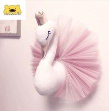 Tier Schwan Kopf Decor Flamingo Wand Hängen Montieren Gefüllte Plüsch Spielzeug Prinzessin Puppe Mädchen Baby Kind Geschenk Kinderzimmer Wand decor