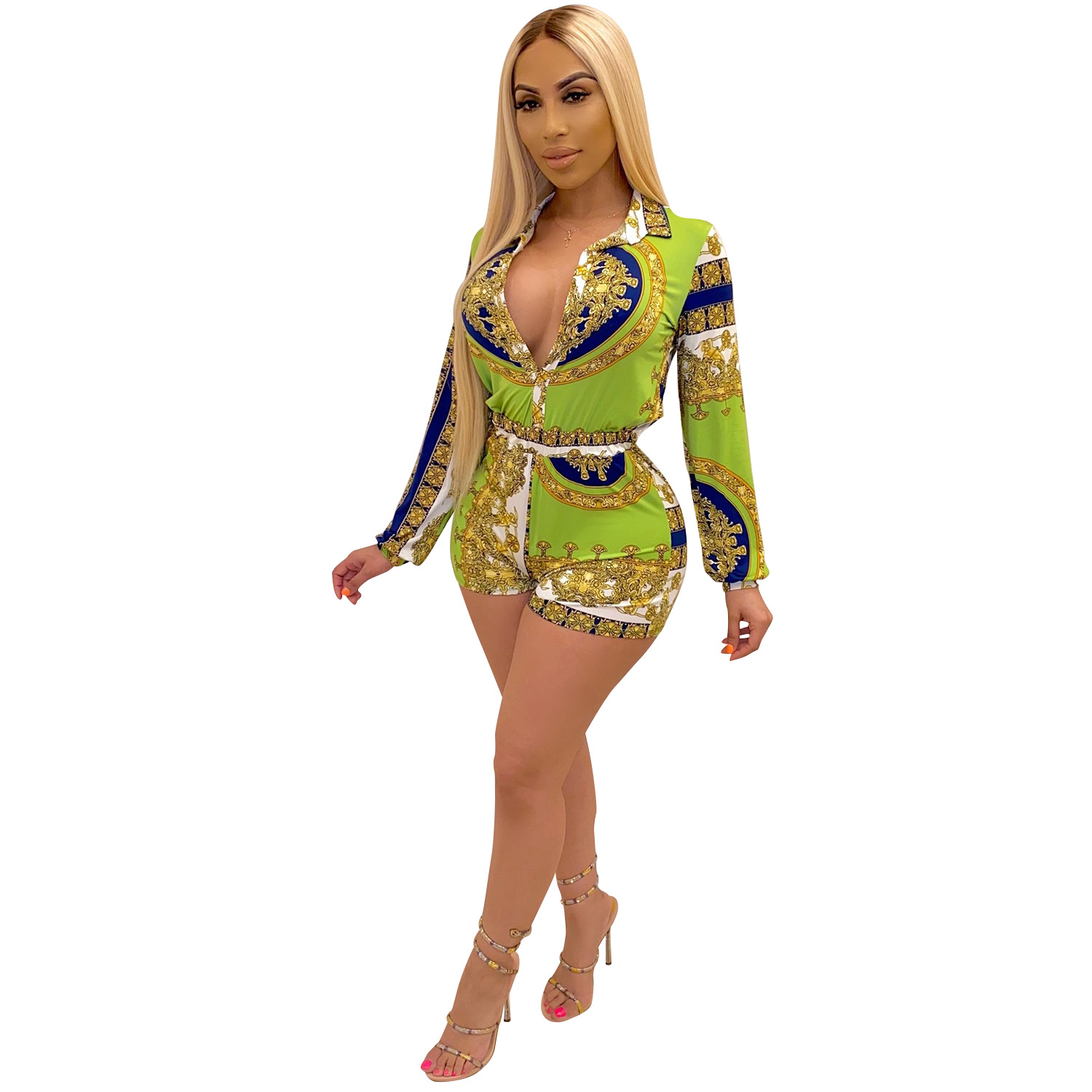 Zoctuo Playsuit Women V Neck Sexy Jumpsuit Summer Autumn 2020 Long Sleeve Print Party Club Button Jumpsuits Shorts