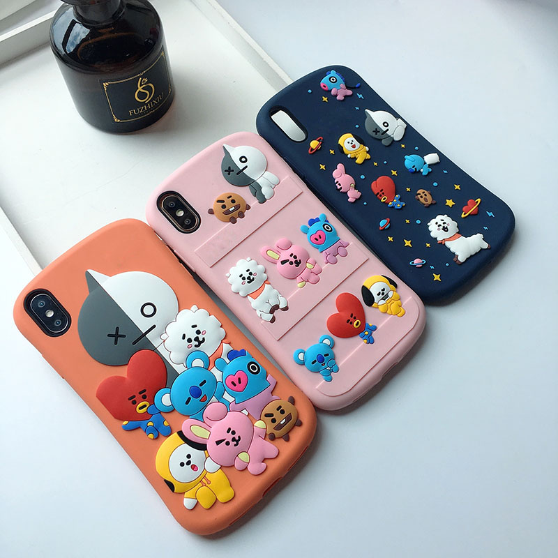 3D Case For Iphone 8 7 Plus 11 Pro Max Animal Park Sheep Colorful Love Heart Rabbit Pig Coque