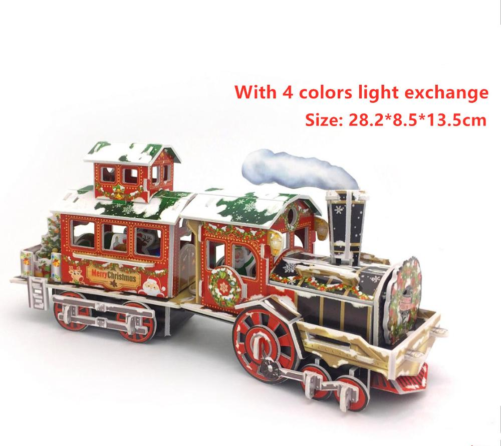 3d puzzle game Diy Paper Dimensional Model Assembled Brain Teaser Games for Children Adults Jigsaw Christmas Train 3D puzzle