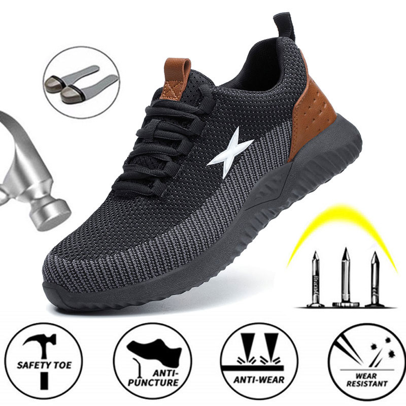Steel Toe Cap With Indestructible Shoes Men's Work Safety Shoes Breathable Light Weight Anti-Puncture Ladies Safety Work Boots