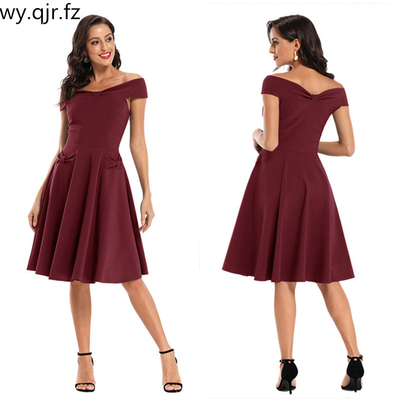 CD-1768#Short Bridesmaid Dresses Dark Bluewine Red Satin Face Graduation Wedding Party Prom Dress Bride Toast Girls Wholesale