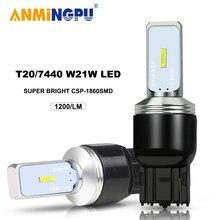 ANMINGPU 1x сигнальная лампа W21W светодиодный 7440 T20 7443 W21 5 Вт светодиодный лампы CSP 1860SMD 3156 светодиодный P27W T25 3157 P27 7W Canbus тормозной светильник 12V
