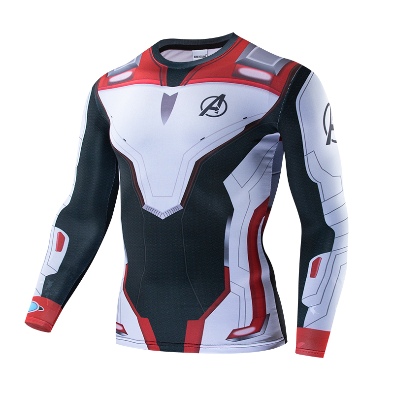 Avengers 4 Endgame Quantum War 3D Print T-Shirt Men's Stretch Shirt Compression Long Sleeve Fall Winter Bodybuilding Set New