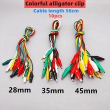 10 pçs cord cor jacaré clipe eletrônico diy clipe elétrico duplo-cabeça clipe de teste de cabo de alimentação conexão linha acessórios