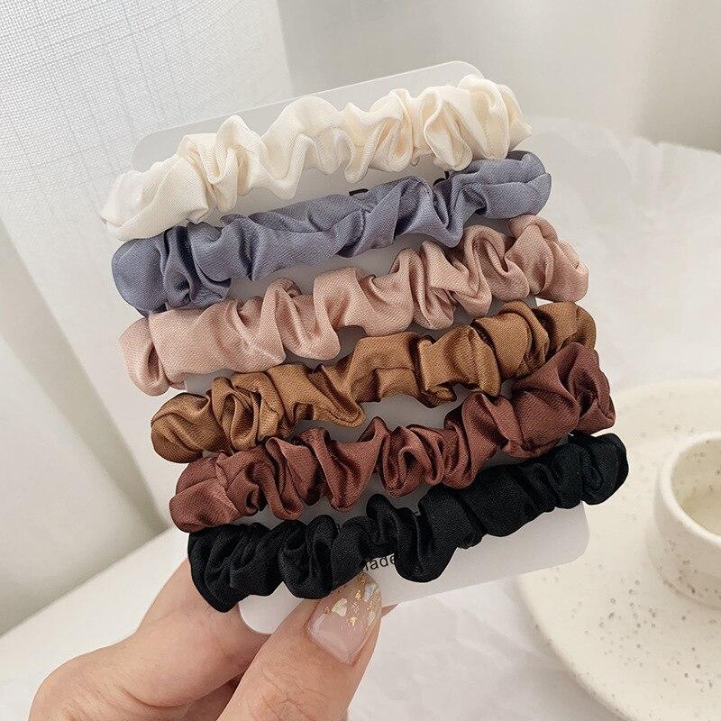 1 комплект резинки для волос кольцо для волос карамельного цвета Веревка для волос осень-зима женский хвостик аксессуары для волос 4-6 шт. ободки для девочек Подарки - Color: 6