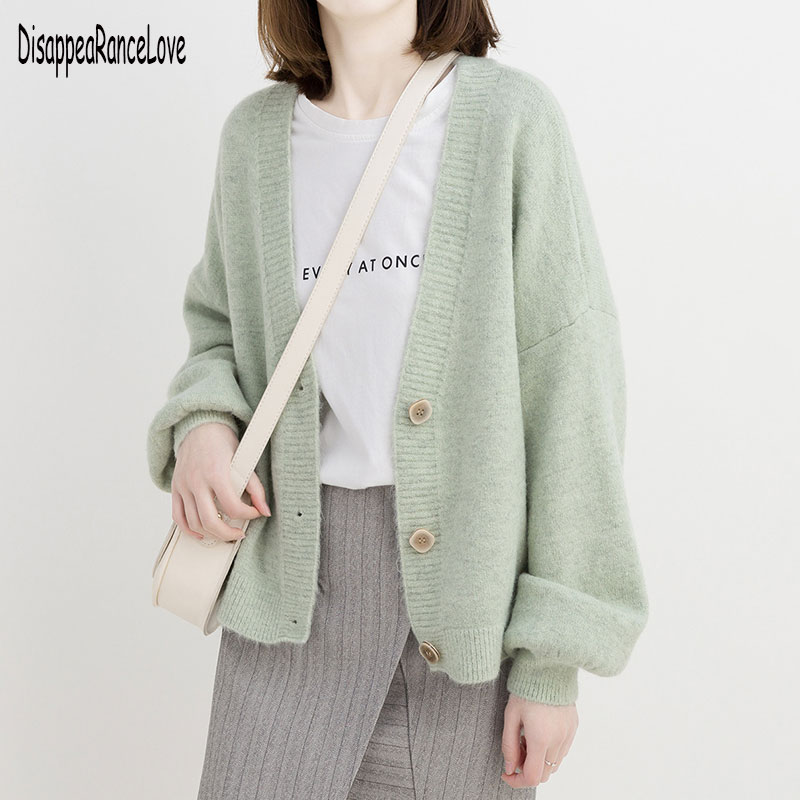 Knitted Chunky Cardigan Sweater Women Simple Solid Thick Button Clothing Sweater Stylish Tops For Female Autumn Winter