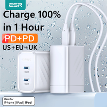 ESR PD Charger 36W Dual Port Protable Travel Charger for iPhone Samsung for iPad Xiaomi Type c Fast Charging Adapter USB C Ports