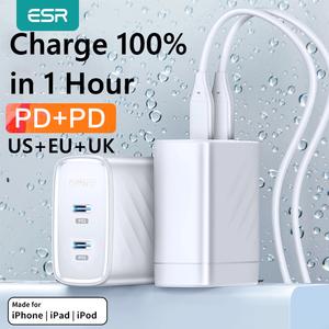 Image 1 - ESR PD Ladegerät 36W Dual Port Protable Reise Ladegerät für iPhone Samsung für iPad Xiaomi Typ c Schnelle lade Adapter USB C Ports