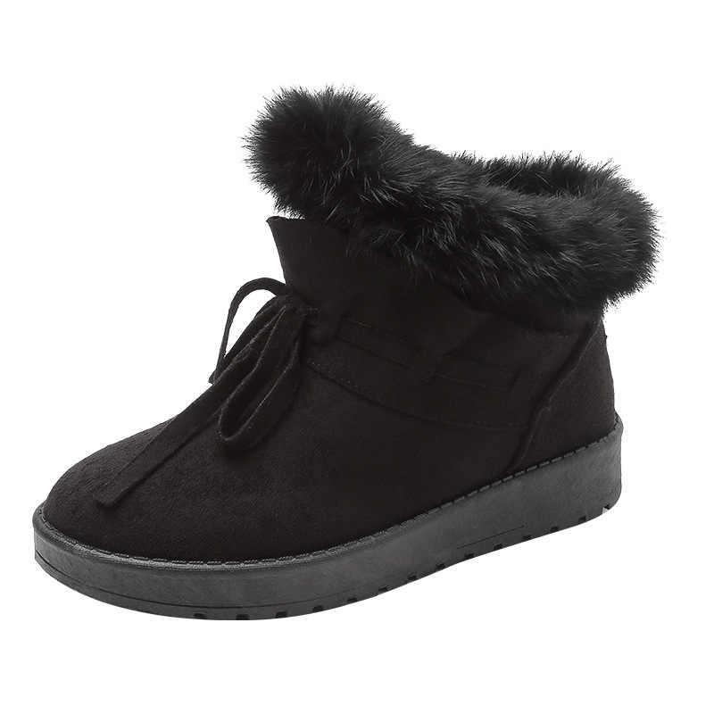 קטיפה חם שלג מגפי 2019 חדש חורף נשים פאייטים ארנב שיער שלג מגפיים לעבות כותנה מגפי Zapatos De Mujer Botas