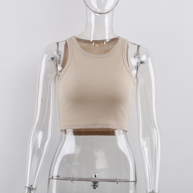 Tank Tops Sexy Crop Vest Solid Harajuku Korean Female Off Shoulder Knitted Khaki White Summer Women Tops 5