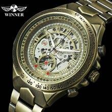 Kazanan resmi eski erkek saatler üst marka lüks otomatik mekanik iskelet saat bakır çelik kayış moda kol saati