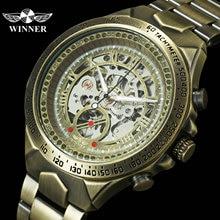 זוכה הרשמי בציר Mens שעונים למעלה מותג יוקרה אוטומטי מכאני שלד שעון נחושת פלדת רצועת אופנה שעוני יד