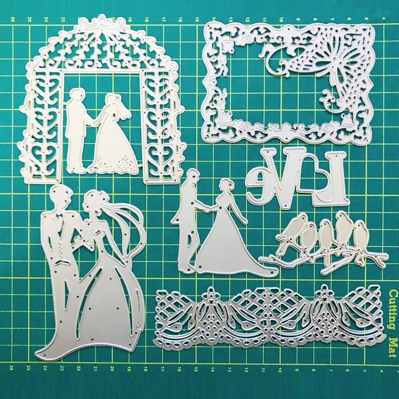 FEESTIGO Wedding Bride and Groom Die Cuts Scrapbooking Metal Bird Cutting Dies New 2018 Love Words Die Cuts For Card Making