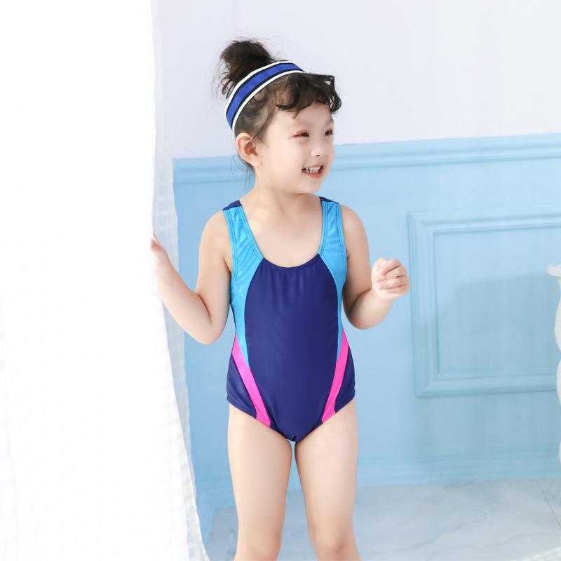 2019 GIRL'S One-piece Swimming Suit Triangular Cartoon Pattern Swimming Training Quick-Dry Children Racing Game Industry Bathing