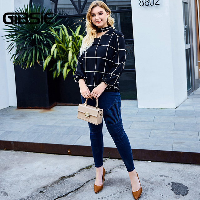 GIBSIE Elegant Choker Neck Grid Print Women Blouse Shirt Autumn Plus Size V-neck Long Sleeve Office Ladies Workwear Plaid Blouse 5
