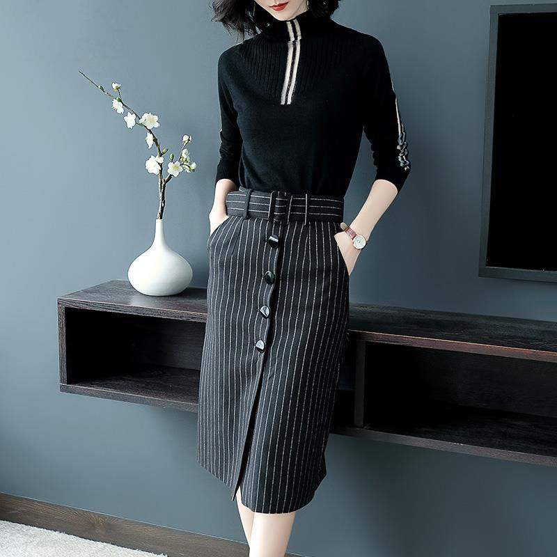 With Belt ! 2 Piece Elegant Spring Autumn Women Skirt Clothing Set Knit Sweaters Tops And Stripped Cut Skirt Suits Set NS270