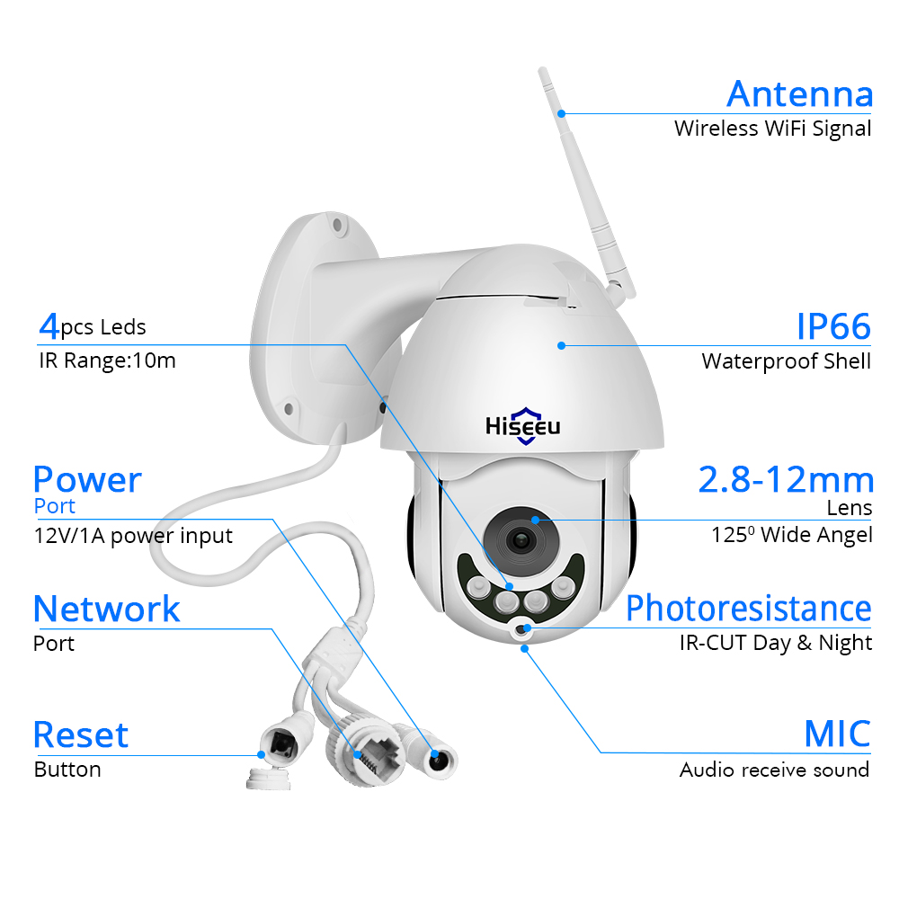 Image 5 - 1080P WIFI IP Camera PTZ 5X Optical Zoom Speed Dome ONVIF CCTV Outdoor Waterproof 2MP Two Way Audio Camera Hiseeu-in Surveillance Cameras from Security & Protection