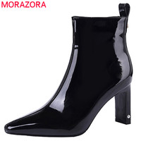 MORAZORA 2020 top quality patent leather women ankle boots solid colors pointed toe high heels shoes woman winter booties