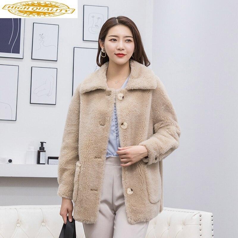 Real Fur Coat Female Sheep Shearling Fur Korean Jackets 2020 Autumn Winter Jacket Women Real Wool Coats And Jackets MY