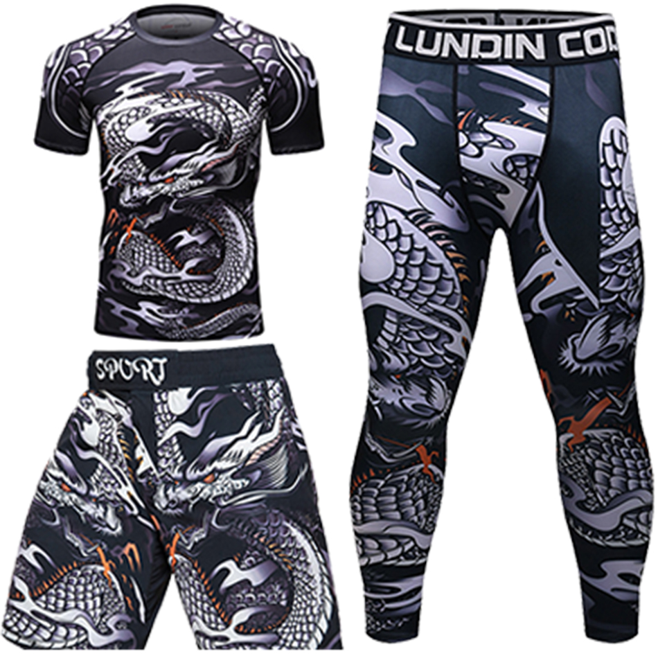 rashguard for men mma jiu jitsu gi T-shirt Set gym work out compression bjj rash guard sportsuit muay thai shorts fitness tights image