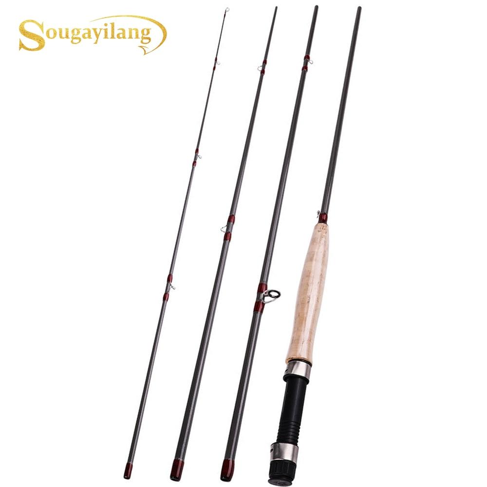 Sougayilang 9FT 2.7M 4 Section Fishing Rod Portable UltraLight Fly Fishing Rod  Soft Cork Handle Rod Fishing Tackle 1