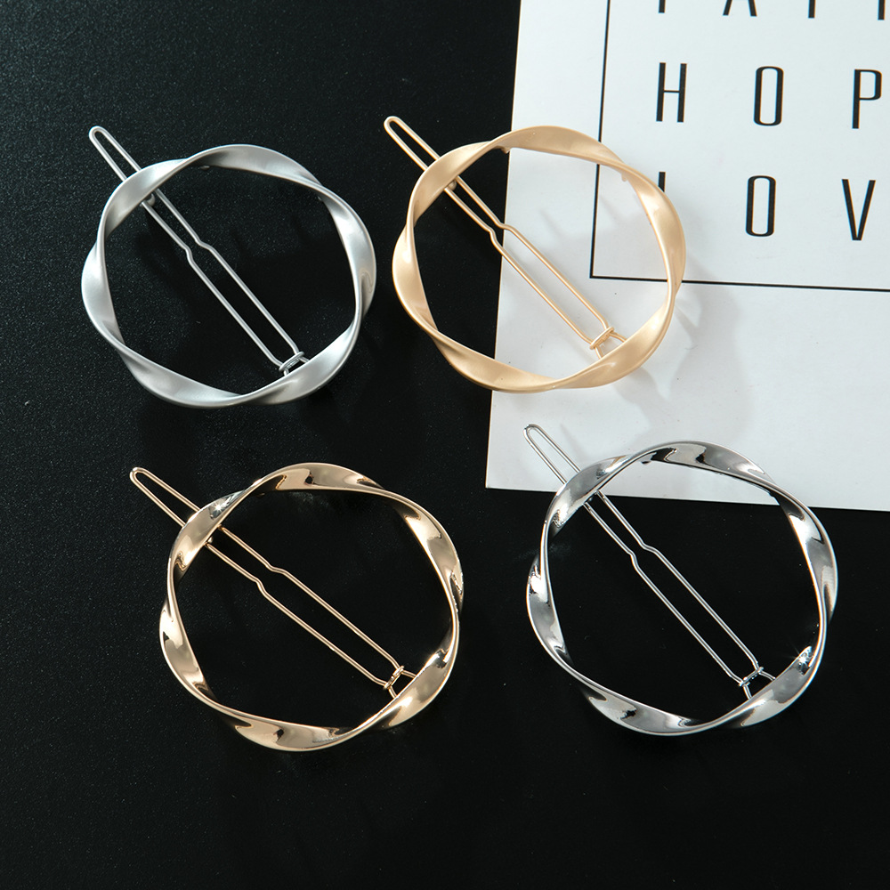 Haimeikang Fashion Alloy Hair Clip Twist Pearl Rhinestone Clip Hollow Glossy Round Square Hairpin Women Hair Accessories