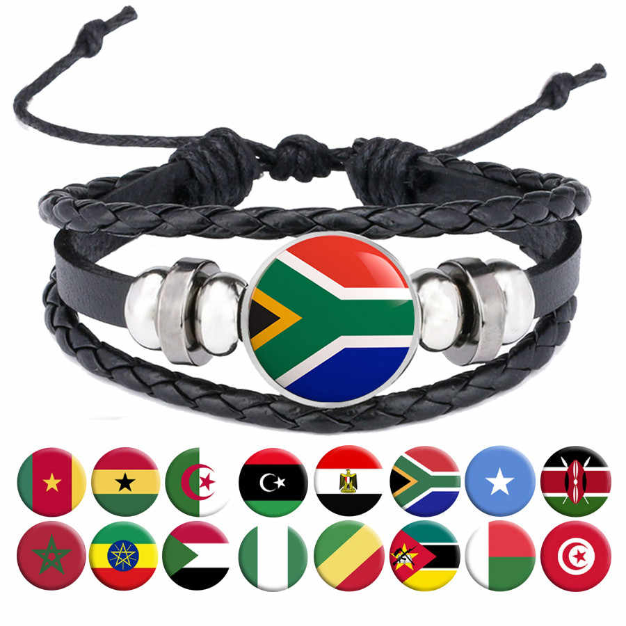 National Flag Bracelets Egypt South Africa Somalia Kenya COG Nigeria Sudan Morocco Algeria Ghana Tunisia Snap Button Jewelry