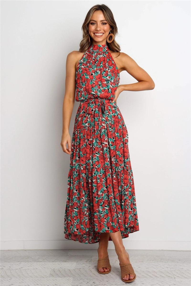 halter midi boho summer dress14