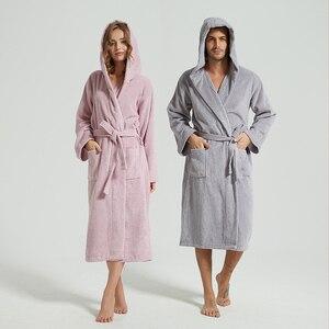 Зимняя одежда для сна, халат, женская ночная рубашка, длинный хлопковый Халат Kinomo, полотенце, Халат с капюшоном, женский теплый халат, мужско...