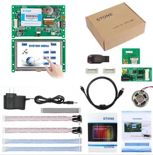 """4,3 """"HMI TFT lcd модуль STVC043WT-01 с сенсорной панелью + плата контроллера + программное обеспечение"""
