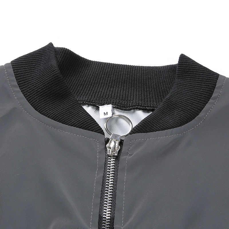 היפ הופ מעיל רעיוני נשים זוהר מפציץ מעיל זוהר בחושך נצנצים יבול למעלה להאריך ימים יותר סקסי רוכסן zip עד WHC3335W09